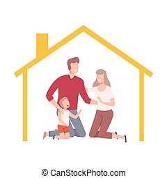 Happy Parents and Their Son at Home, House Frame with Family Inside Vector Illustration