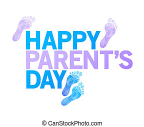 happy parents day sign. happy feet illustration