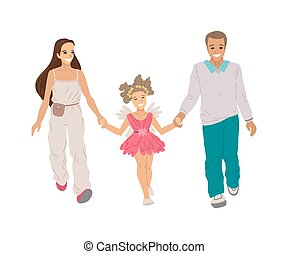 Daughter with her parents, walking by the hand, family activity, going to the theater, a girl in a fairy costume. Halloween kids party. Vector cartoon drawing, character on white background.
