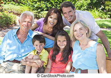 Happy Parents Grandparents Children Family Outside - An...
