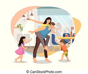 Happy Parents Plating with Kids at Home Vector