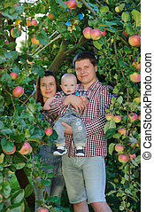 Happy parents with child in apple garden