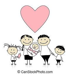 Happy parents with children, newborn baby in hands