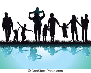 Happy parents with children on the