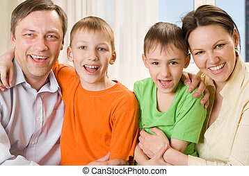 happy parents with  children together
