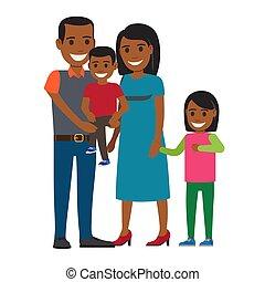 Happy Parents with Little Children Flat Vector