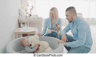 Happy parents with little dog playing with their beautiful daughter, near bear and balls. Slow motion