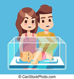 Happy parents with new born child in the glass box. Cartoon family vector illustration