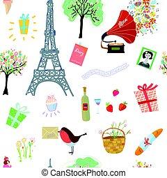 Happy Paris seamless pattern illustration