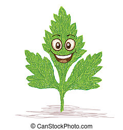happy parsley leaf cartoon character smiling.
