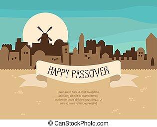 Happy Passover greeting card design with Jerusalem city skyline. Vector illustration