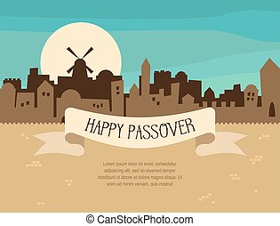 Happy Passover greeting card design with Jerusalem city...