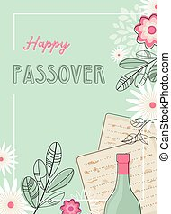 happy passover greeting card or seder invitation with spring...