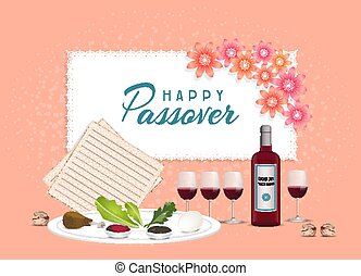 Happy Passover in hebrew Jewish holiday banner tamplate with wine, seder plate, coral color backgroun