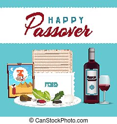 Happy Passover in hebrew Jewish holiday banner tamplate with wine, seder plate, matzo backgroun