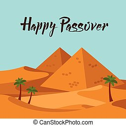 happy Passover. Jewish holiday card template with desert Egypt view. vector illustration