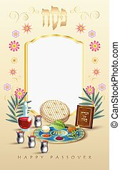 Happy Passover Jewish Holiday vintage frame greeting card - ...