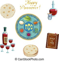 Happy Passover Jewish Holiday vintage icons set isolated - ...