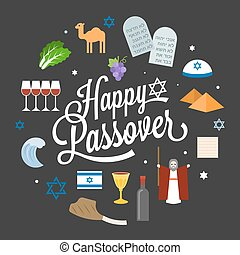 Happy passover poster pictogram with moses, pyramid,...