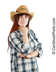 Happy pastoral  woman in  checkered shirt