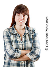 Happy pastoral  woman in  chequered shirt  over white