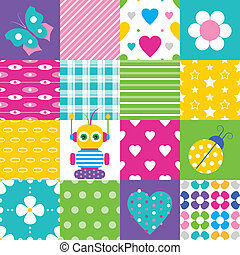 happy patchwork pattern collection - colorful stripes hearts...