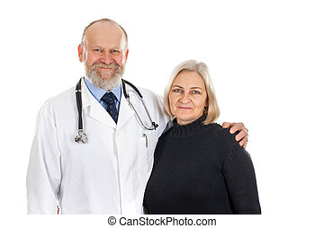 Happy patient with her doctor