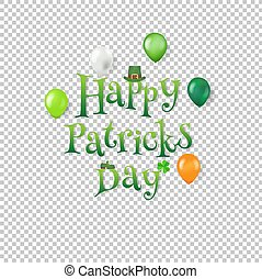Happy Patrick Day Text Transparent background