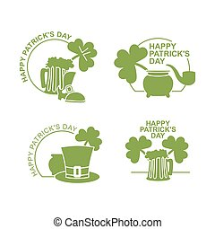 Happy Patricks day emblem Set . Green clover and pot with wealth. Beer mug and pipe. Hat cylinder. Accessories for St. Patrick's day in Ireland
