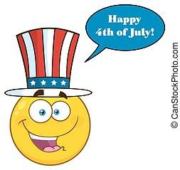 Happy Patriotic Yellow Cartoon Emoji Face Character Wearing A USA Hat
