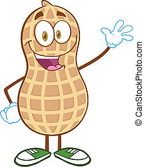 Happy Peanut Cartoon Mascot Character Waving For Greeting