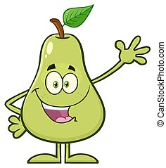 Happy Pear Fruit With Green Leaf Cartoon Mascot Character Waving For Greeting