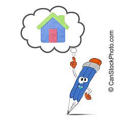happy pencil cartoon think my home