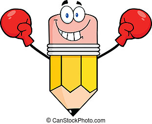 Happy Pencil Wearing Boxing Gloves