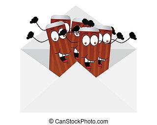 happy pencils in envelope