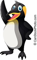 Happy penguin with big smile illustration