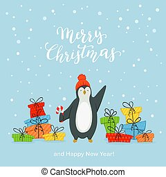 Happy Penguin with Gifts on Blue Background