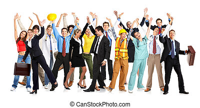 happy people - Business people, builders, nurses, doctors,...