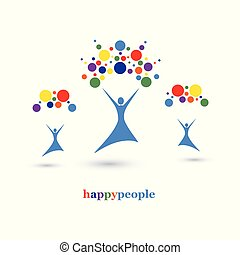 Happy People Color Image, Vector Illustration.