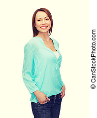 smiling woman in casual clothes - happy people concept - ...