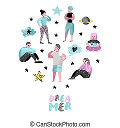 Happy People Dreaming about Something. Young Man Thinking. Woman Dream about Future. Joyful Cartoon Characters. Vector illustration