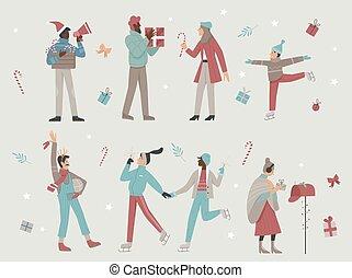 Happy people enjoy Christmas winter holiday time cartoon set