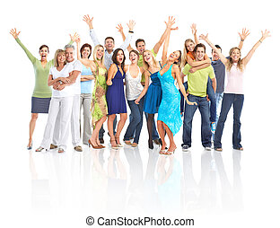 Happy people - Happy funny people. Isolated over white ...