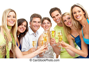 Happy people - Happy funny people with champagne. Isolated...