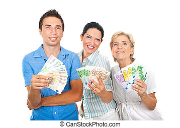 Happy people holding euro money - Three happy people in a...