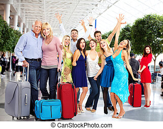 Happy people in airport. - Group of happy people in airport....
