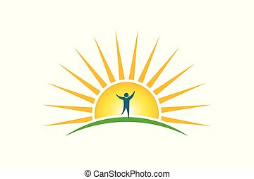 Happy People in sunshine morning logo. Hope and strength concept