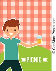 happy people picnic - young happy man holding juice with...