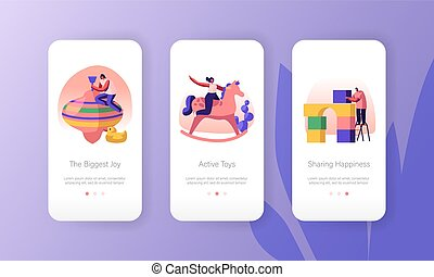 Happy People Playing with Kids Toys Mobile App Page Onboard Screen Set. Male and Female Characters Active Games and Fun at Playground Concept for Website or Web Page, Cartoon Flat Vector Illustration