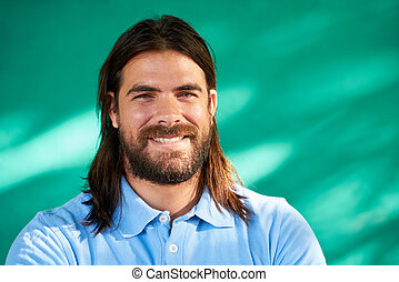 Happy People Portrait Young Hispanic Man With Beard Smiling